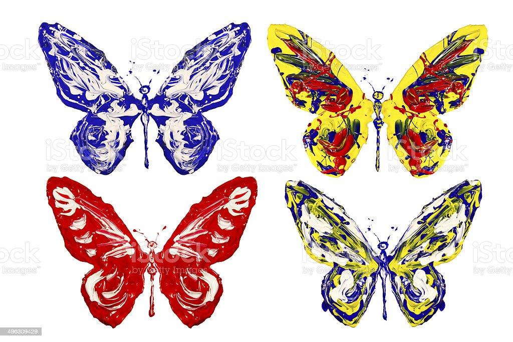 Photo Libre De Droit De Bleu Blanc Rouge Peinture Jaune Papillon En