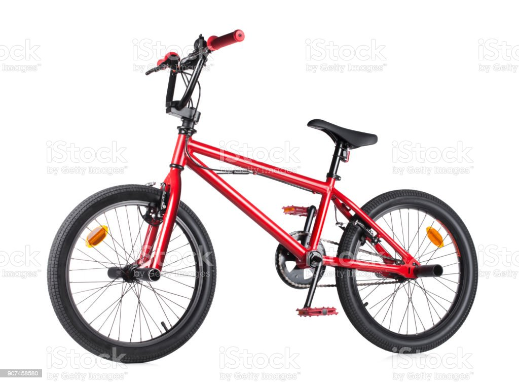 Red Bmx bicycle on white background stock photo