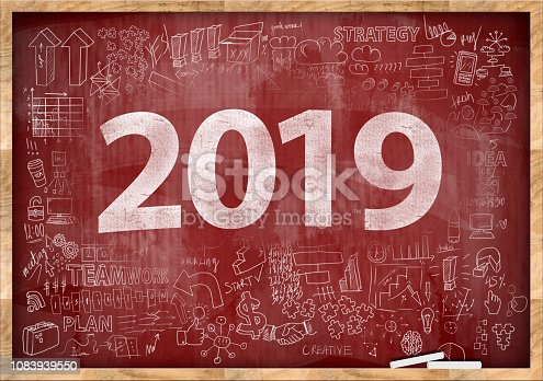 888342518istockphoto 2019 NEW YEAR / Red board with charts and diagrams concept (Click for more) 1083939550