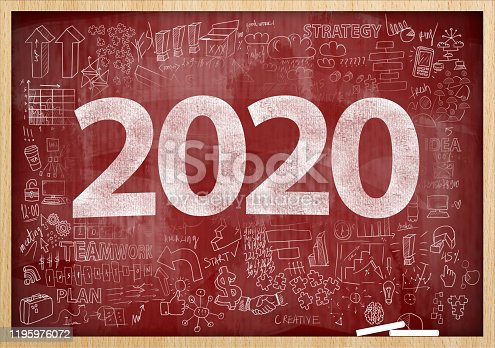 1063751940 istock photo 2020 NEW YEAR / Red board with charts and diagrams concept (Click for more) 1195976072