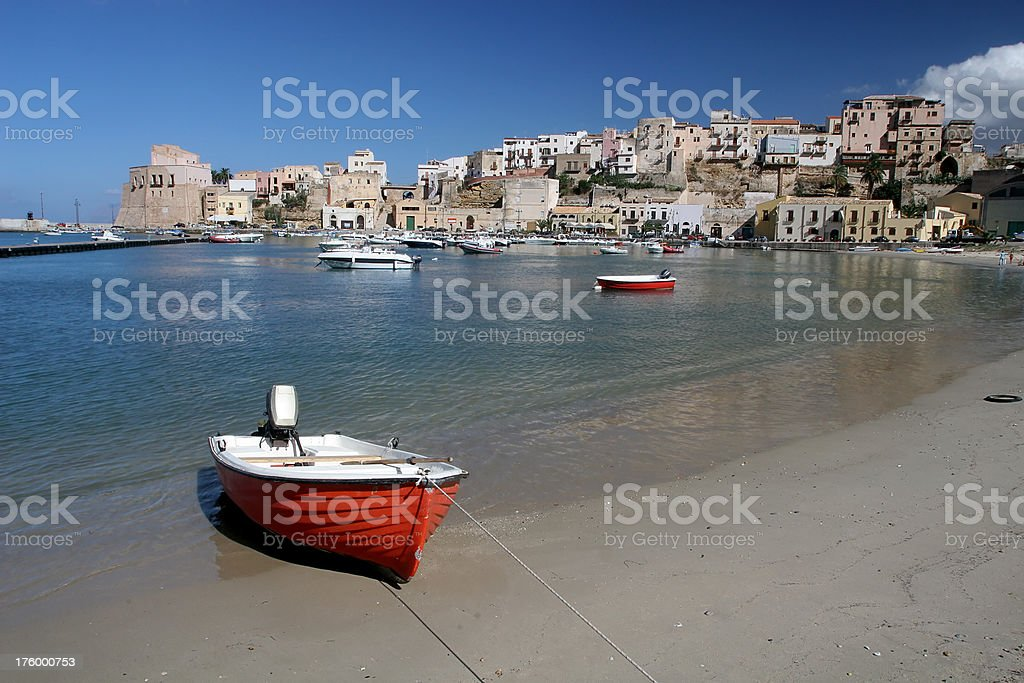 Red Boat at Castellammare in Sicily royalty-free stock photo