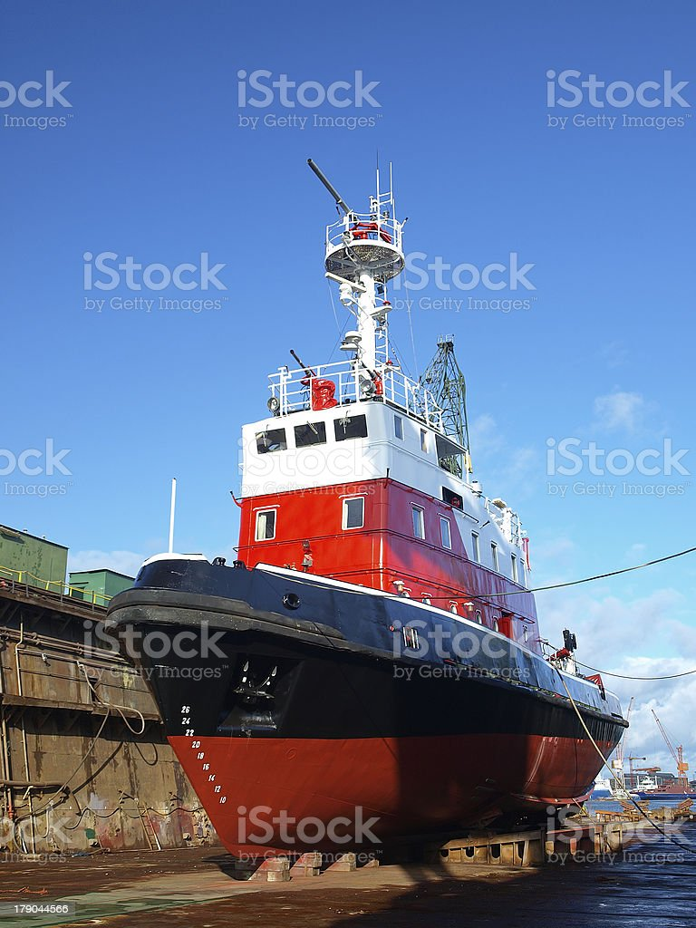 Red boat in dock royalty-free stock photo