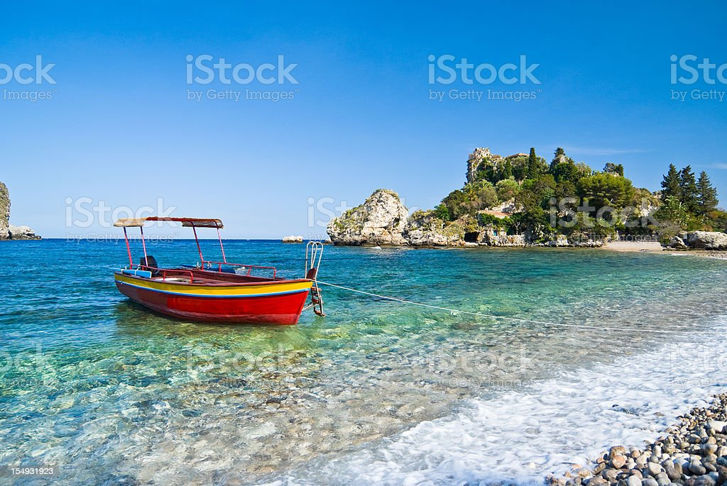 Red boat, Isola Bella, Sicily stock photo
