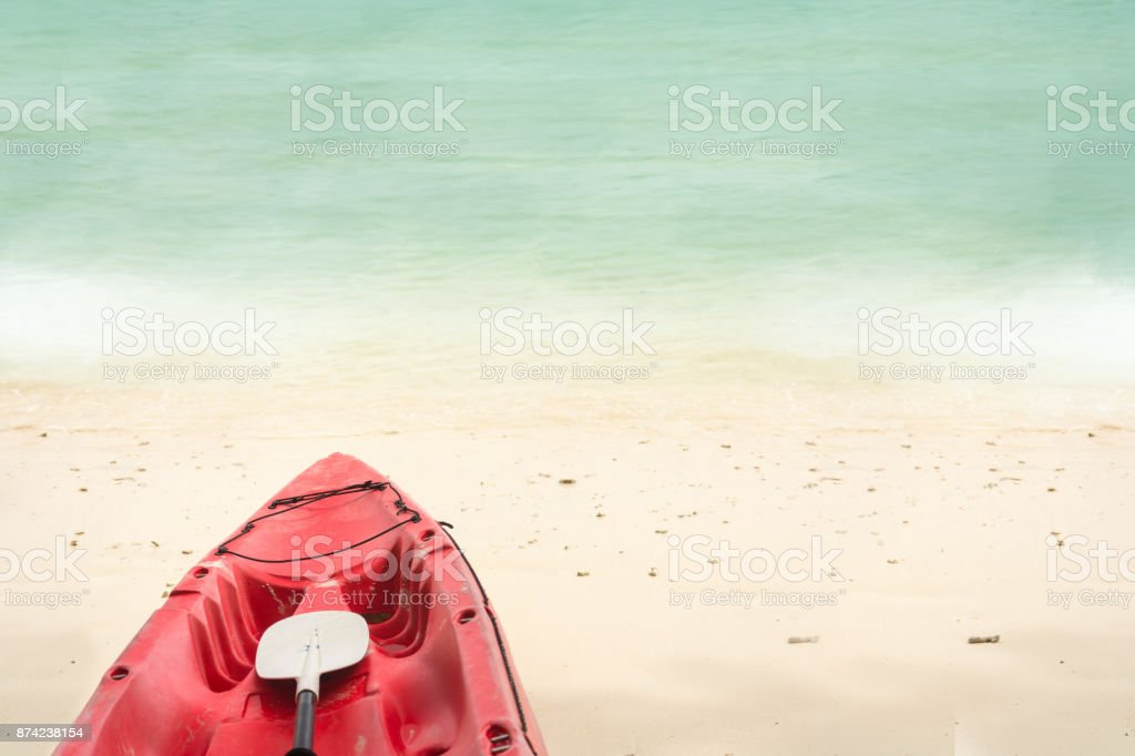 Red Boat On Sand With Sea stock photo