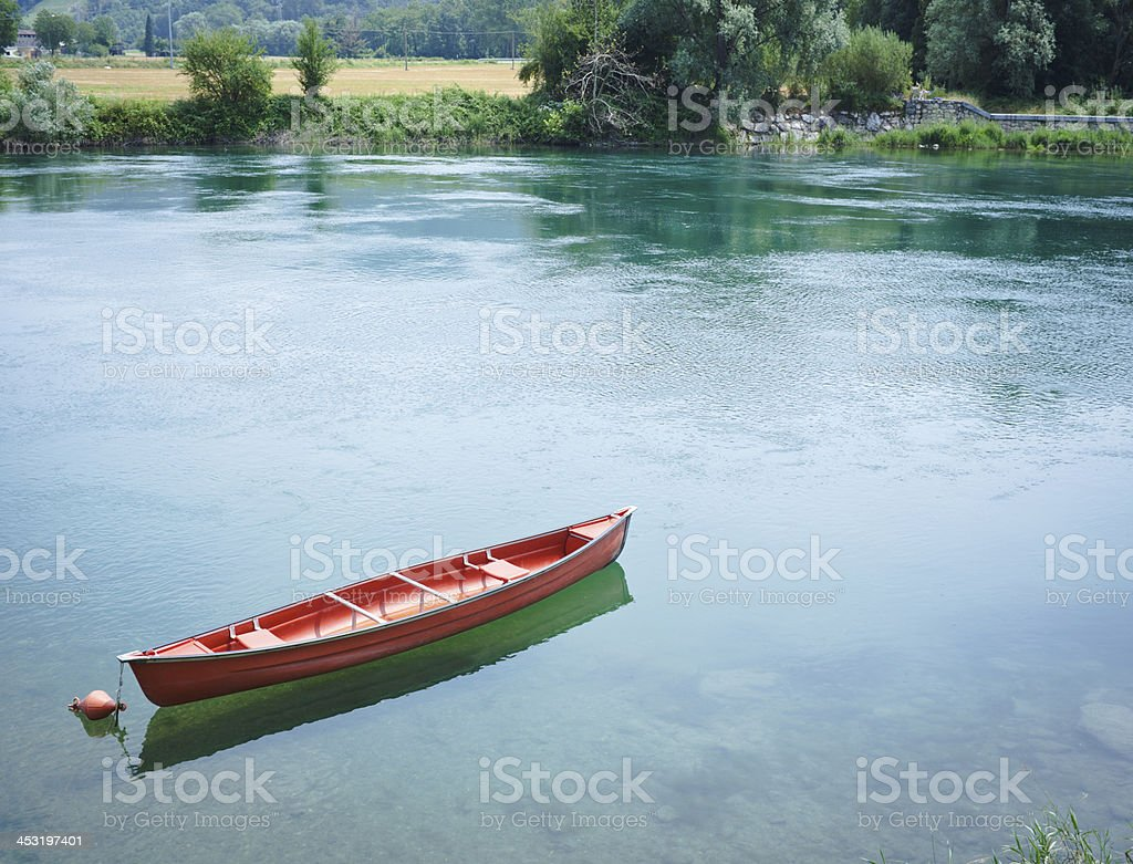Red Boat Over Water royalty-free stock photo