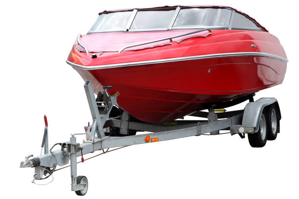 Red boat with a canvas top. stock photo