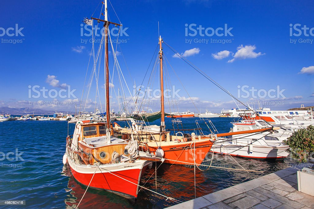 Red boats, Greece stock photo