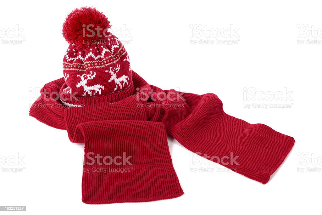 Red bobble hat and scarf stock photo