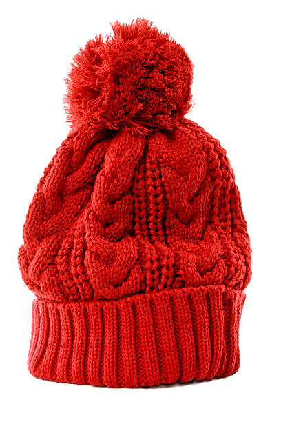 Red bobble hat stock photo