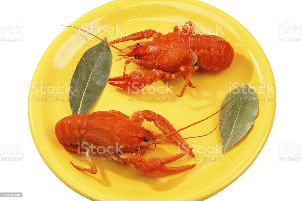 Rosso Bollito Crawfish su un piatto giallo foto stock royalty-free