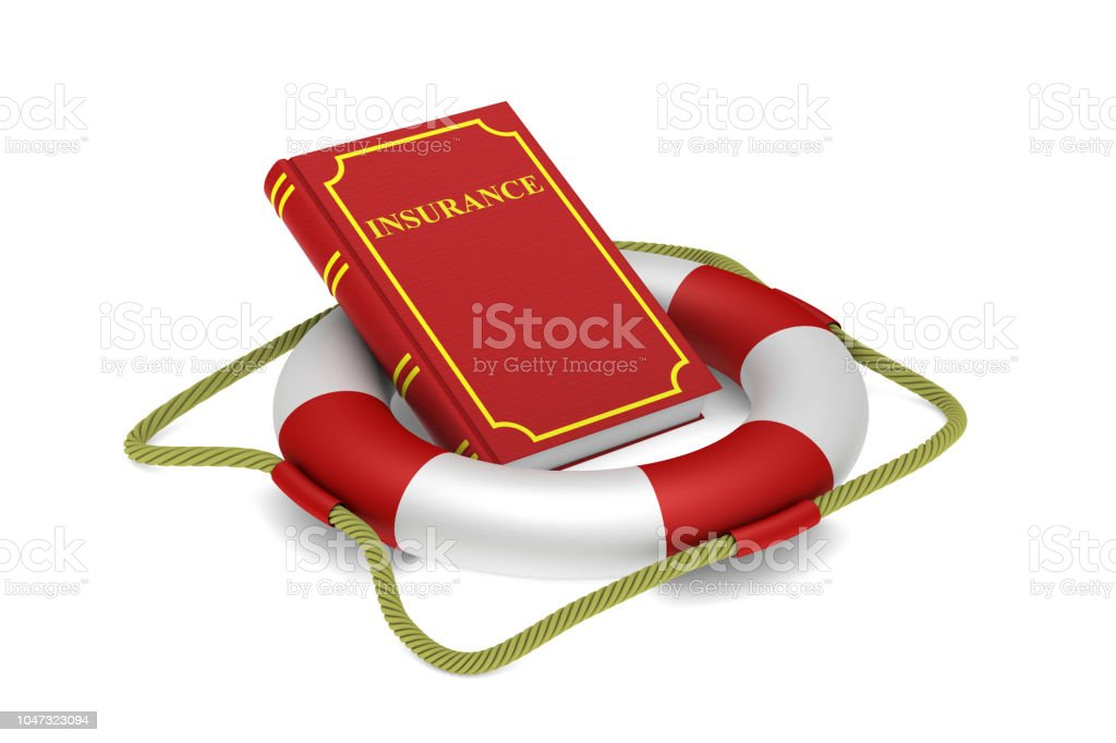 Red book and lifebuoy on white background. Isolated 3d illustration stock photo