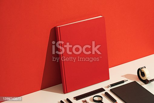 Red book cover mockup, template flat lay