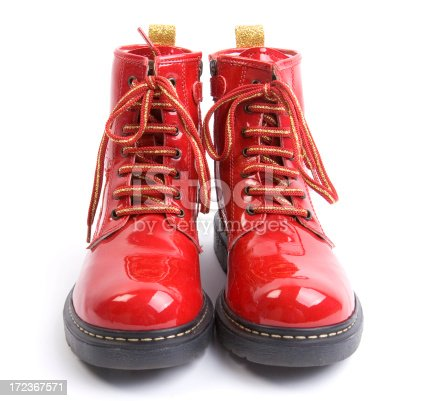 red shiny boots on white background