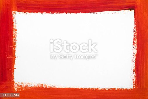 istock red border painted on white paper 811176736