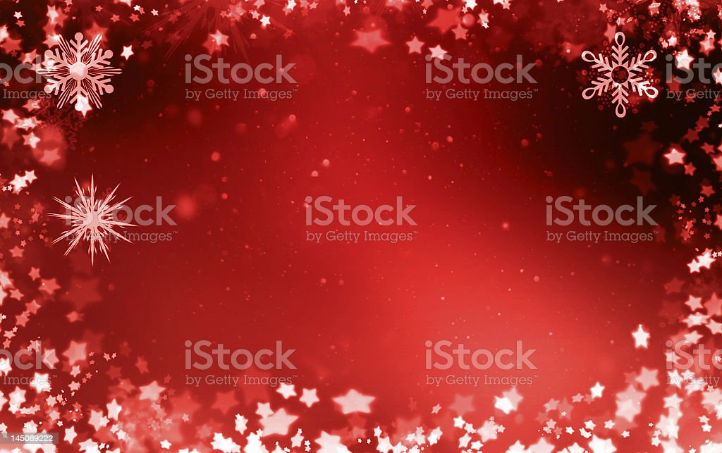 Red border with stars and snowflakes royalty-free stock photo