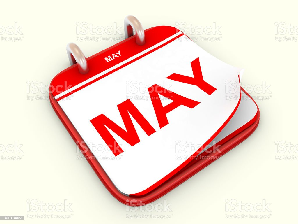 Red bordered desk top calendar showing month of May royalty-free stock photo