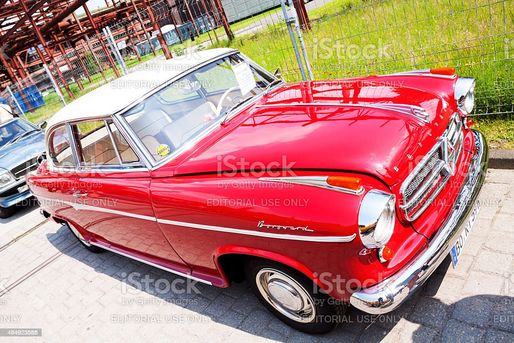 Red Borgward limousine and oldtimer stock photo