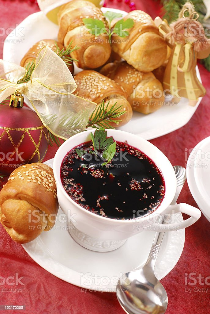 red borscht and yeast pastries for christmas royalty-free stock photo