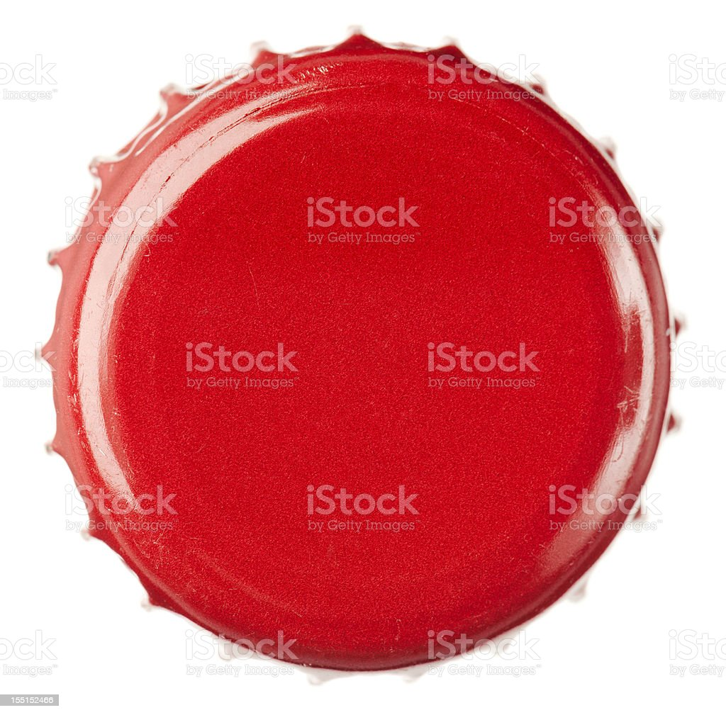 Red Bottle Cap Close-Up stock photo