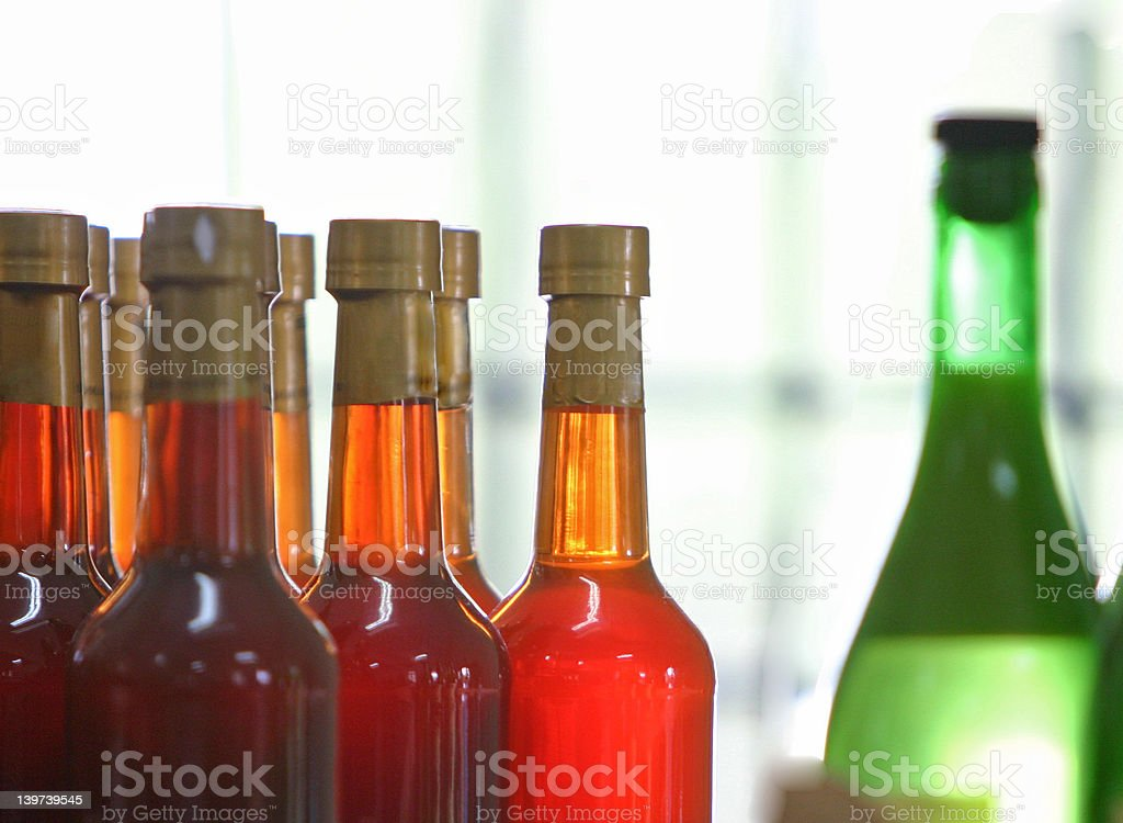 red bottles and green royalty-free stock photo
