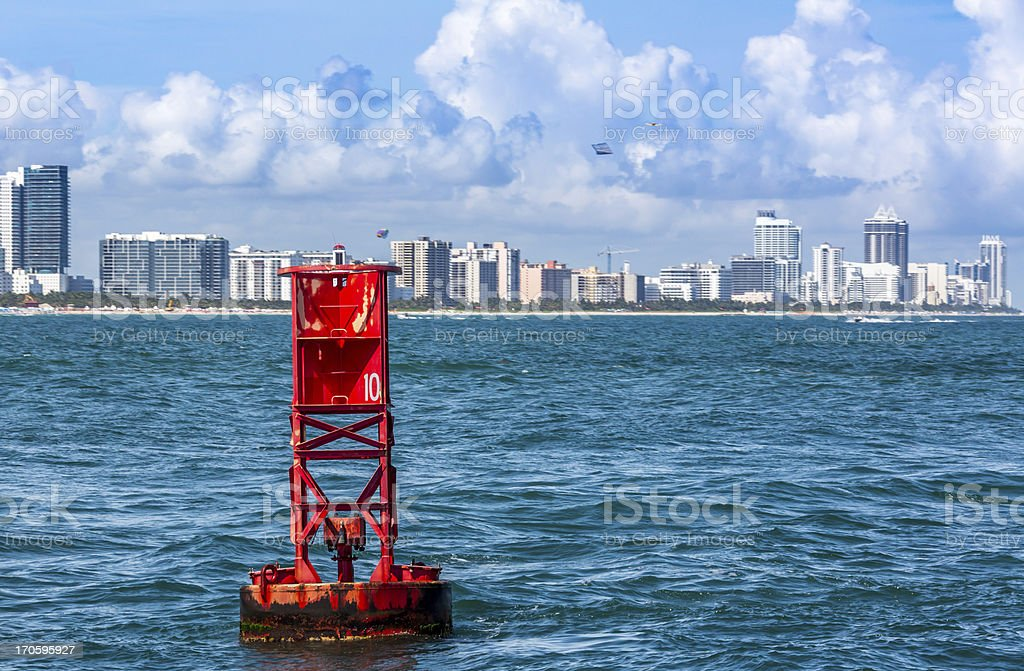 Red Bouy # 10 at Miami Beach royalty-free stock photo