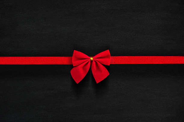 Red Bow Isolated on Black stock photo