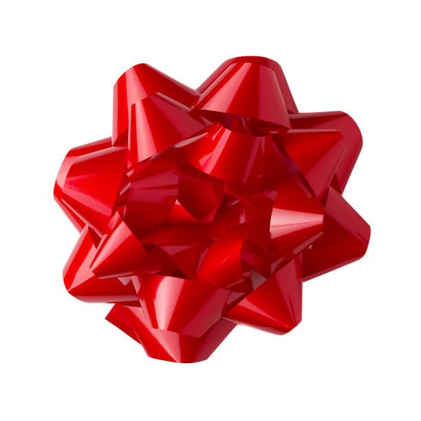 rote schleife auf weißem hintergrund - geschenkschleife stock-fotos und bilder