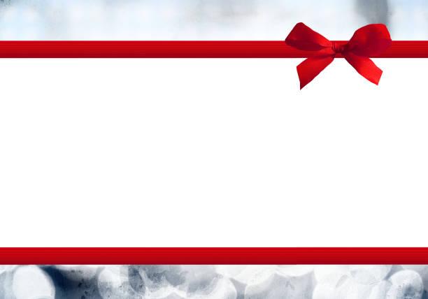 rote schleife  - gutschein weihnachten stock-fotos und bilder