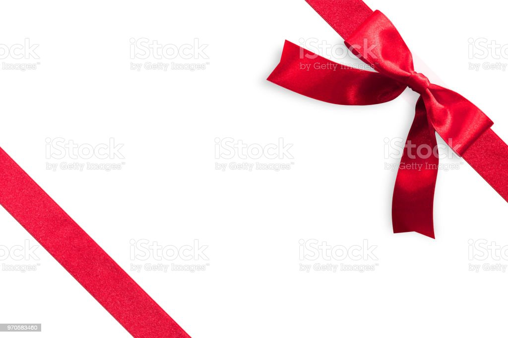 Red Bow Satin Ribbon Band Stripe Fabric On Corner For Christmas