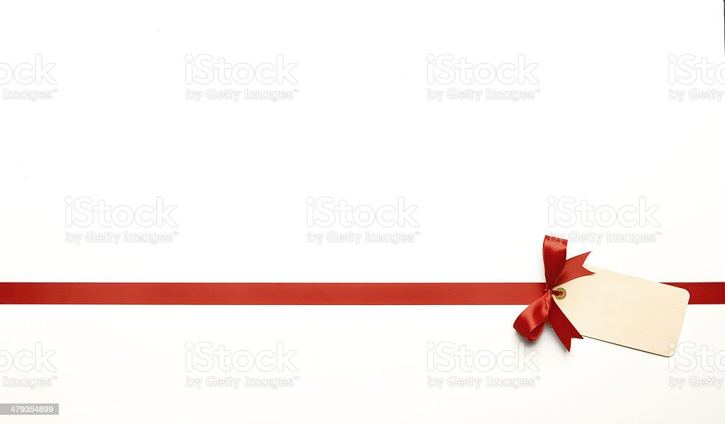 Red Bow with Blank Tag stock photo