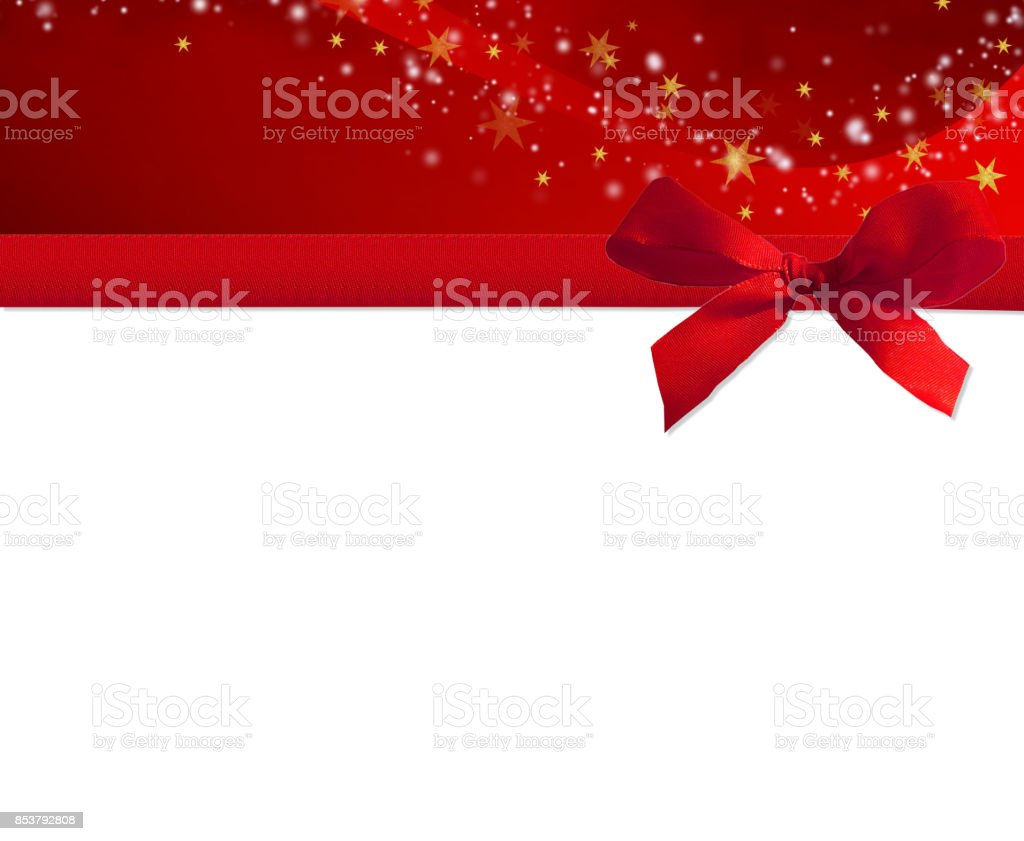 rote Schleife mit Sternen und Kopie-Raum – Foto