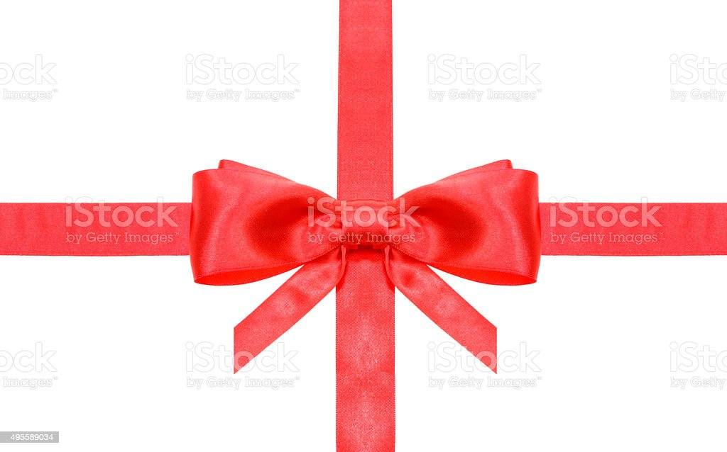 red bow with vertically cut ends on intersection stock photo