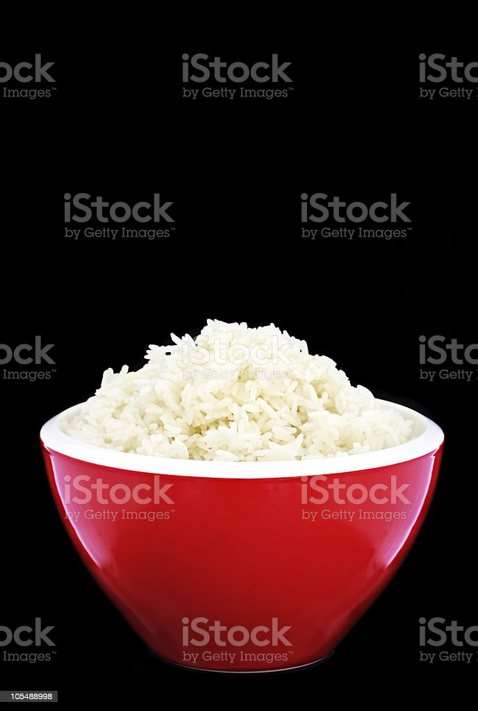 Red Bowl of White Rice stock photo