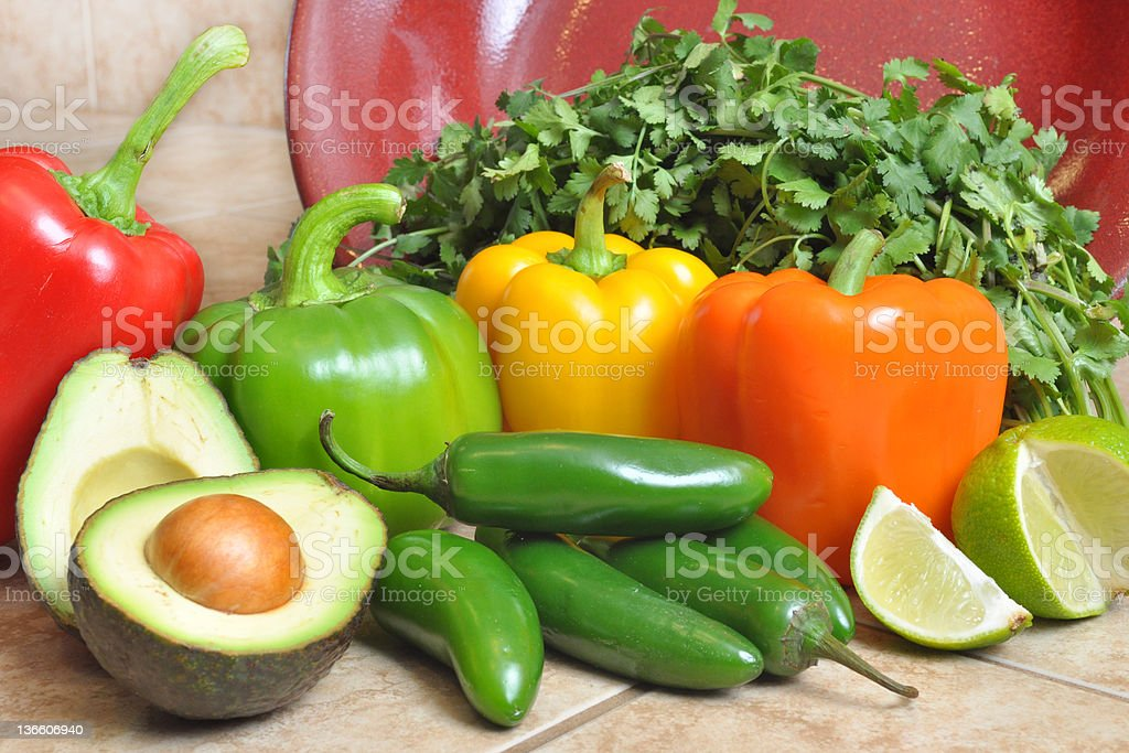 Red Bowl with Peppers and Avacados stock photo