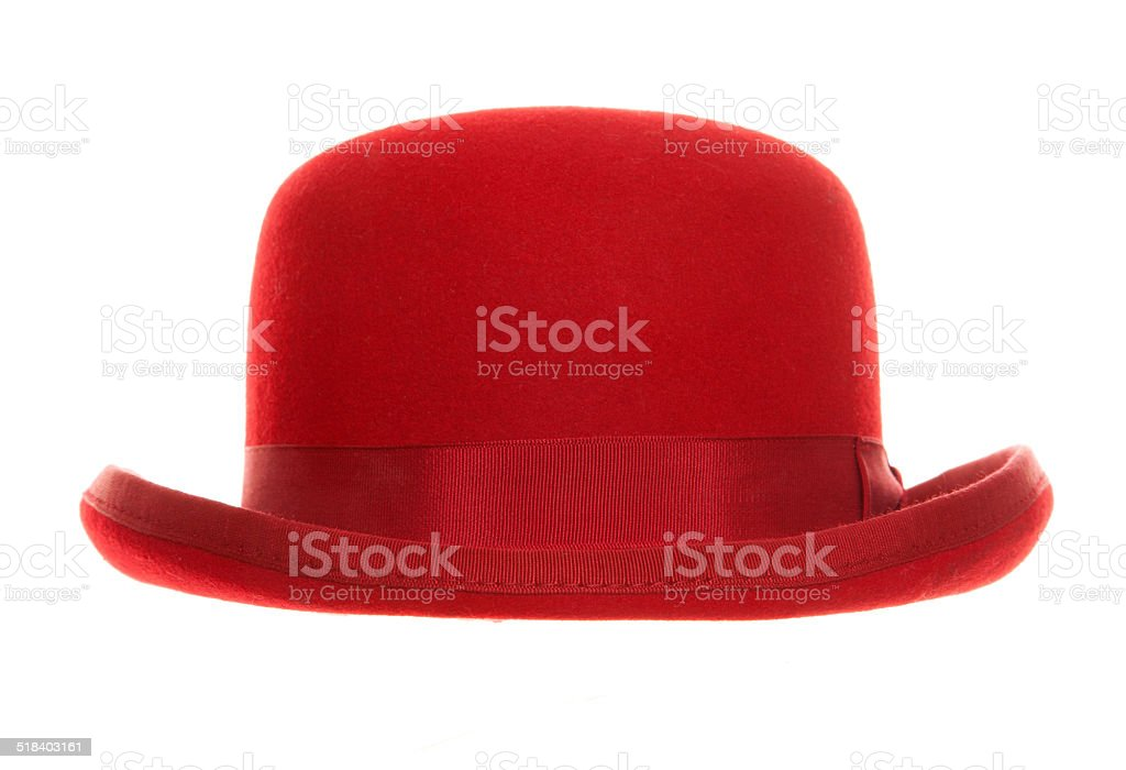 Red bowler hat stock photo
