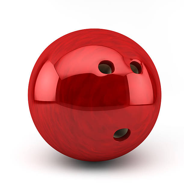 Red bowling ball isolated on white background stock photo