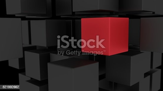 istock Red box among array of black cubes 3d illustration 521992662