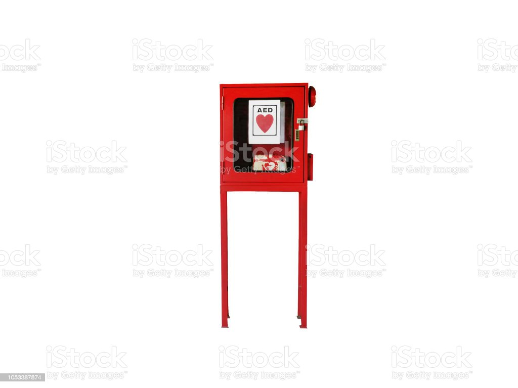 Red Box - Automated external defibrillator Cabinet with Clipping path stock photo