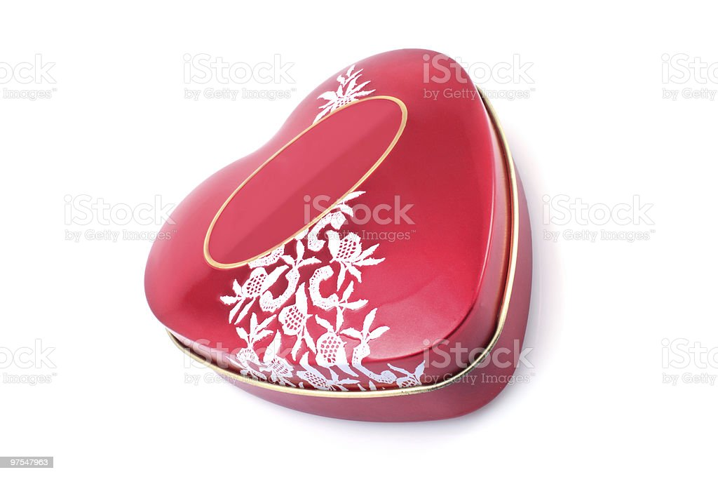 Coffret rouge en forme de cœur photo libre de droits