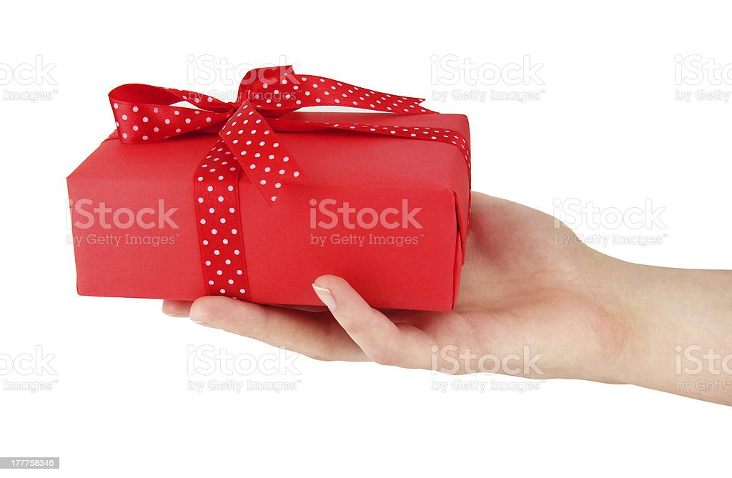 Red box in the hand royalty-free stock photo
