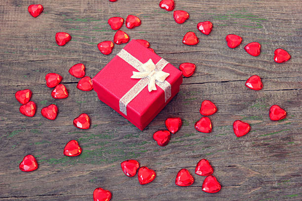red box with a gift on Valentine's Day stock photo
