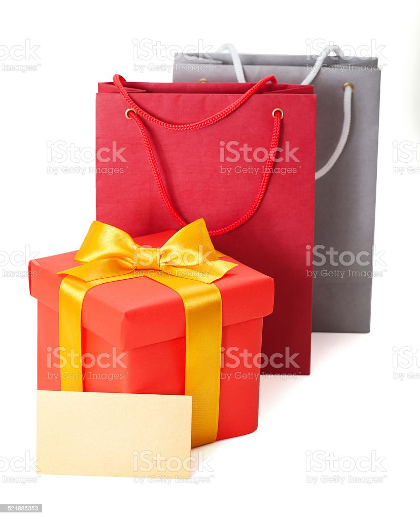 red box with  ribbon and gift card stock photo