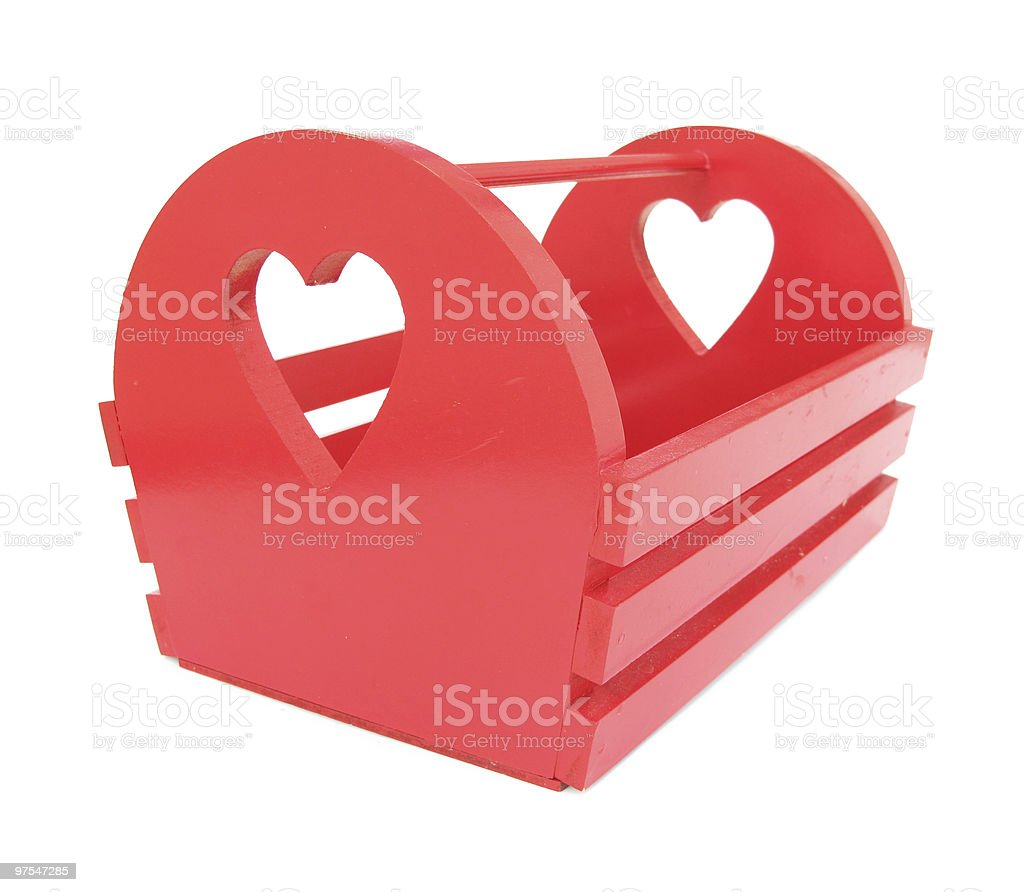 Red box wooden cradle with hearts royalty-free stock photo