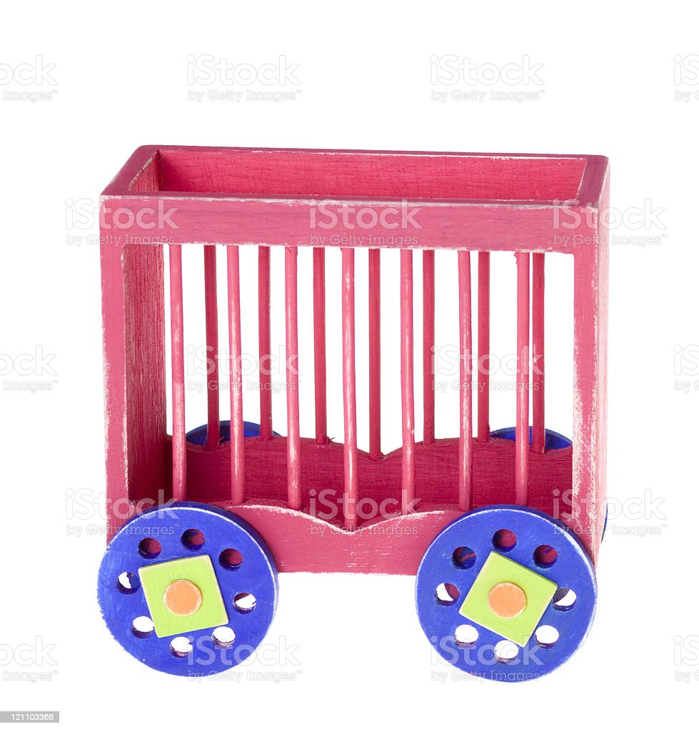 Red Boxcar Toy Circus Train stock photo