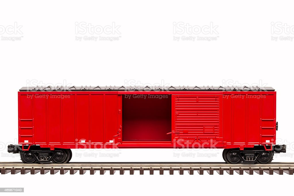 Red Boxcar with Open Door stock photo