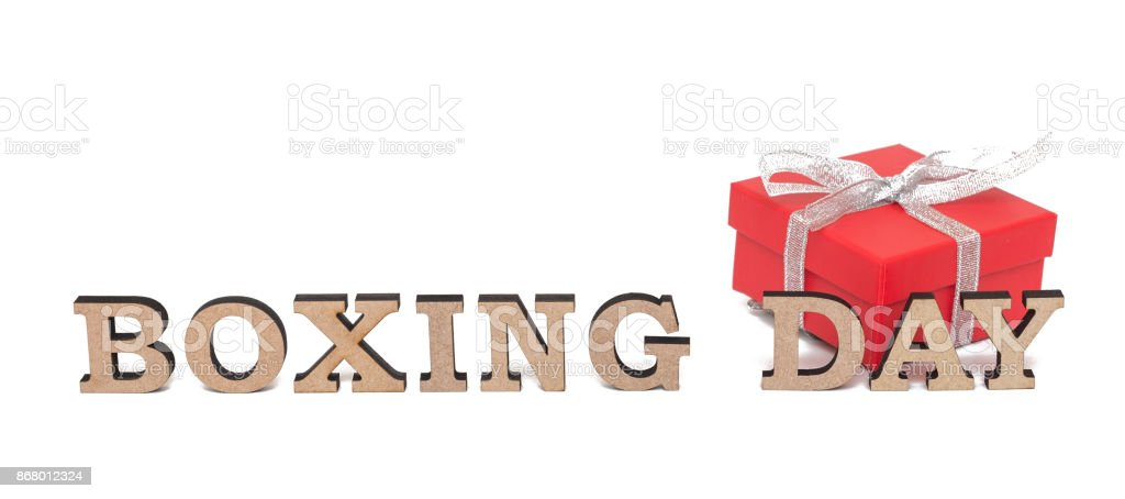 A red boxe with words BOXING DAY, isolated on white stock photo