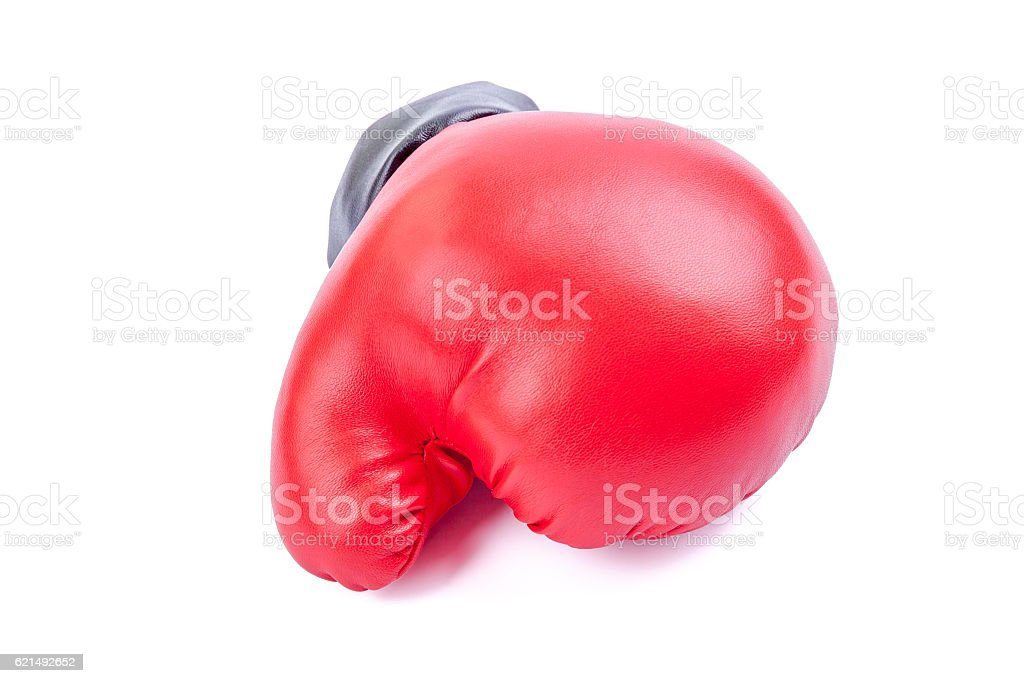 Red boxing glove isolated on white background. photo libre de droits