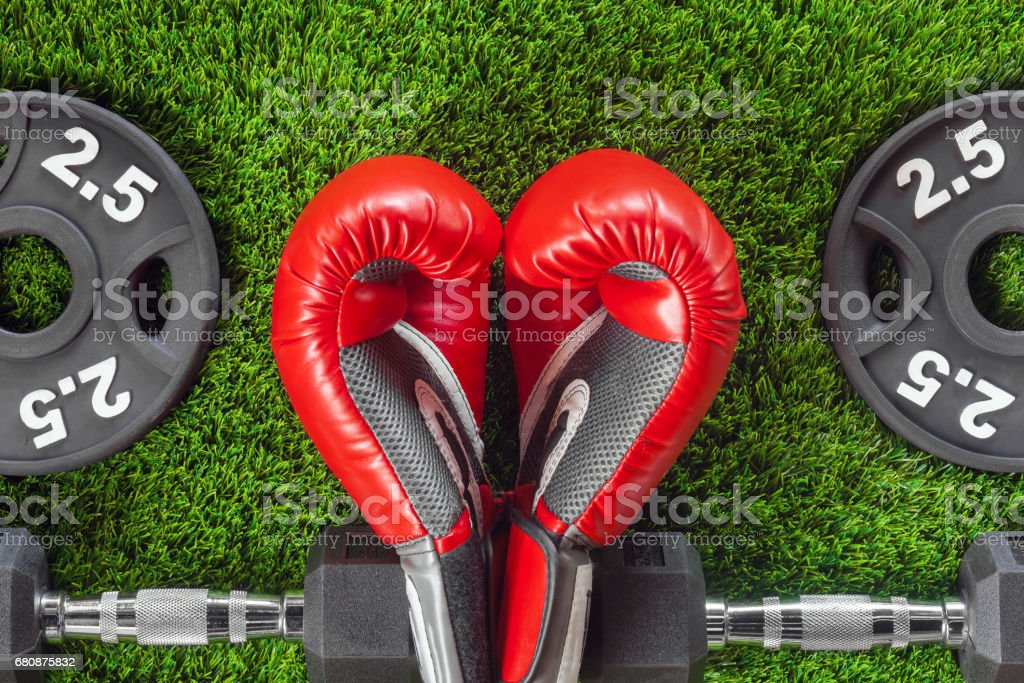 Red boxing gloves and dumbbells royalty-free stock photo