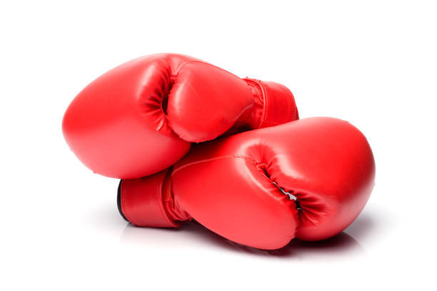 Red Boxing Gloves On White Background In Horizontal Composition stock photo