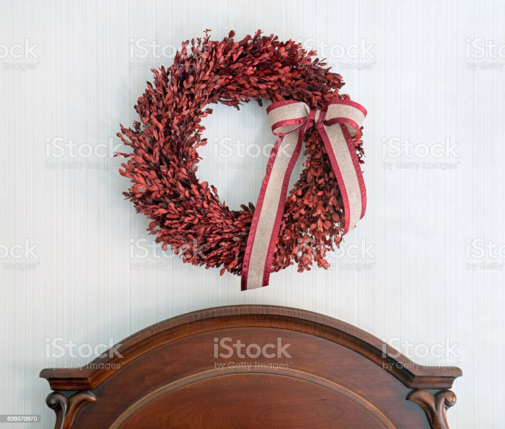 Natural, preserved red-dyed boxwood wreath with burlap & silk bow...